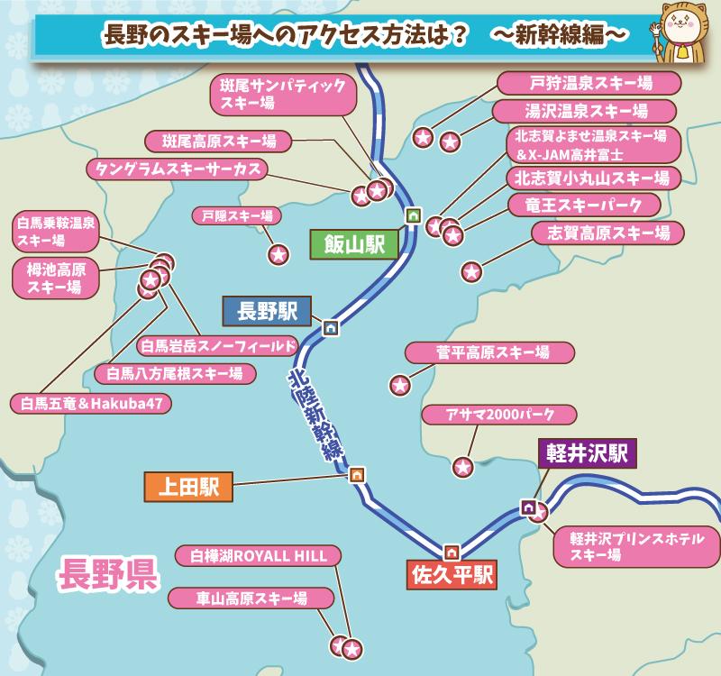 長野のスキー場までのアクセス